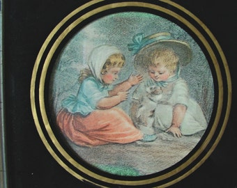 Retro Small Print, Wood Framed, Colored Print, Little Girls Playing, Wall Hanging, Girl's Room,  Victorian Children