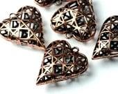 2 pendentifs coeurs grillage cuivre 30mm x 25mm x11mm épaisseur