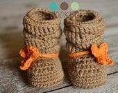 Crochet Slouch Baby Boots Newborn Baby Merino Wool
