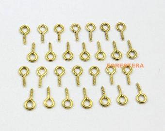 500Pcs 4x9mm Eye Screw Gold Screw Eye Pins (JS-YY1)