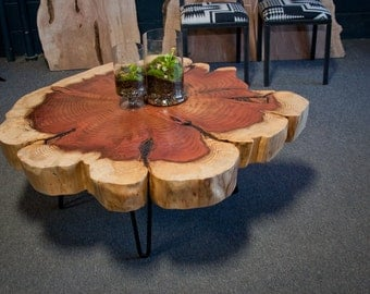 Your Custom: Live Edge Sequoia COFFEE Table  - Seattle - Mid Century - Round