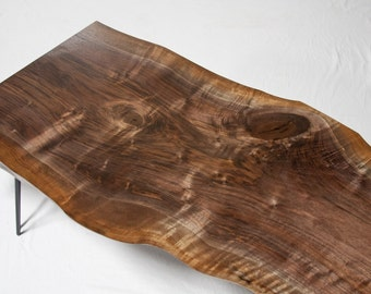 YOUR CUSTOM - Medium - Black Walnut Reclaimed COFFEE Table - Live Edge - Natural - Midcentury