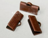 100 Textured Antiqued COPPER 13mm Ribbon End CRIMPS - 13x6mm Rectangle Brass Clamp Crimps for Leather and Cord - USA Discount Crimps - 5803