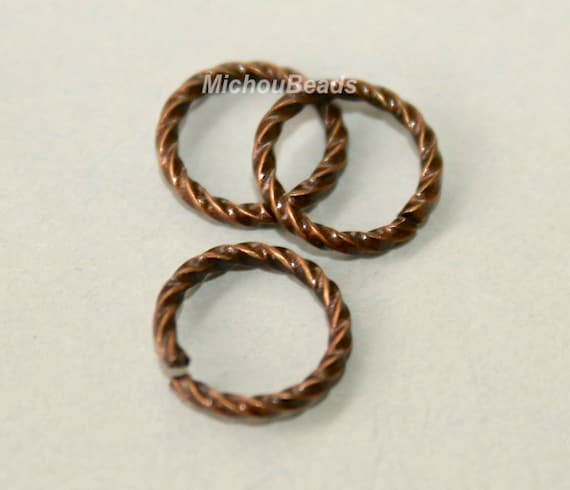 26 Antiqued COPPER 6mm / 16 Gauge Twist JUMPRINGS - Open Textured Jump Ring Links - Usa Wholesale Findings - Instant Ship from USA - 5475