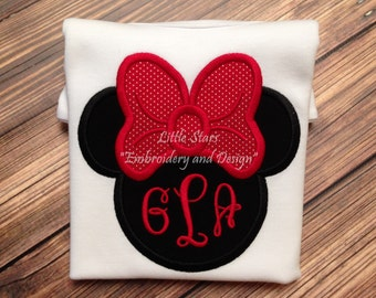 Minnie Mouse Head Outline with Monogram - Appliqued and Embroidered