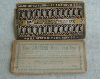 Vintage NOS Card of Empress Hook and Eyes by John Walls Co in Lewisburg PA