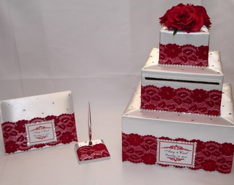Elegant Custom Made Wedding Card Box- Guest Book set-lace design-any colors