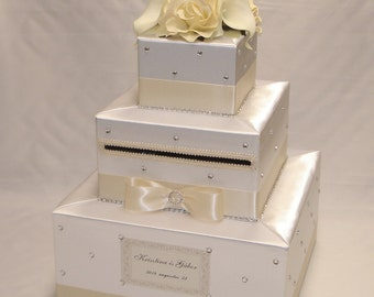 Elegant Custom made Wedding Card Box-white-ivory -any color can be made