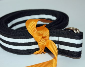 "Black and White Belt Striped Ribbon Belt Preppy Adult Belt Mens Ribbon Belt 1.25"" Wide Belt Black Striped Belt"