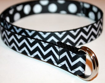 Girls Belt Reversible Black Chevron and Black Polka Dots Ribbon Black Ribbon Belt Girls Black Stripe Belt Black Stripe Belt