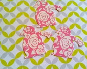 50 Penguins Pink with white roses Hand Punched Die Cuts Baby Shower Confetti, Birthday party Invitations,scrapbooking, cards