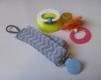 Gray Chevron Pacifier Clip -Baby Blue Clip