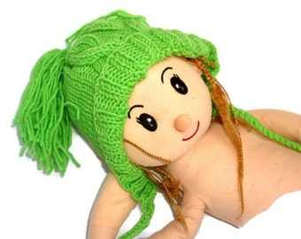 Childrens Clothing - Toddler Hat - Boys Hat - Girls Hat-Green cable