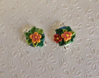 Floral polymer clay sculpted flower connectors, 2 pcs, OOAK