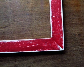 Distressed red frame - 5x7 handpainted picture frame, bright red