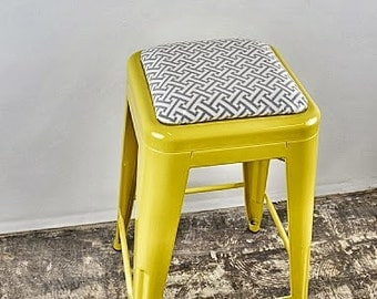 "Custom Painted & Upholstered Tolix Style Stool in the Color and Fabric of your Choice 24"" Counter Height"