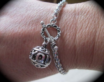 "I Love You bracelet with toggle clasp and  foxtail chain silver filigree I Love You charm  7 1/2"" Valentines Day"