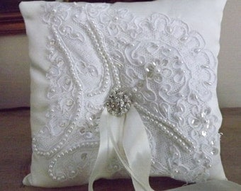 French Lace Wedding Ring Bearer Pillow, Hand Beaded Alencon Lace,  Ivory Satin,  Butterfly Theme,  OOAK, Ring Pillow, Wedding Cushion