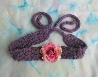Handknit child's headband, with flower pin