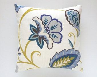 CLEARANCE 50% OFF Floral Decorative Pillow Cover. Yellow, blue, brown, Gray. Flower Pillow Cover. 18X18. P. Kaufmann Designer Pillow.
