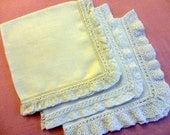 VINTAGE Hankies 1950s or 60s - 3 Linen, 2 white and 1 creamy white, machine made lace edges attached with hand crochet through hemstitching