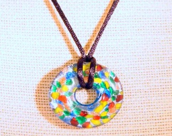 SALE Multicolored Donut Pendent Black Satin Cord Beaded Pendent OOAK Handmade Necklace. CKDesigns.US