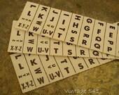 Vintage Letter Labels, Alphabet Label Sheets, Index Labels for Assemblage/Collage/Altered Art/Scrapbooking