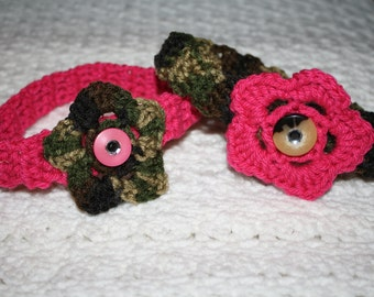 Camo and Hot Pink Headband Sized Newborn with Bling- Adult headband- Photo Prop Pick one, or set