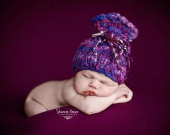 PDF knitting pattern - Newborn photography prop handspun present hat #47