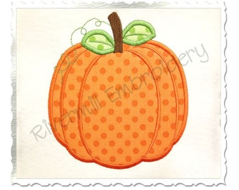 Applique Pumpkin Machine Embroidery Design - 4 Sizes (Style #2)