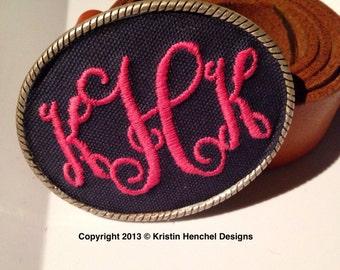 Kristin Henchel custom monogram belt buckle - vines monogram