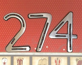 "METAL HOUSE NUMBERS, set of 3, metal address sign from horseshoes, 5"" tall,  Made to Order"