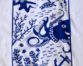 Flour Sack Dish Towel - Octopus, Navy Blue or Winter Green