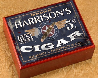 Cigar Humidor - Personalized Cigar Box with Name and Date, Bar Accessory, Birthday Gift for Him, Wedding Gift, Executive Gift