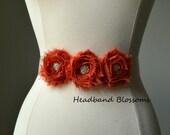 Flower Girl Bridesmaid Burnt Orange Chiffon Flower Sash - Wedding Belt - Satin Ribbon Bridal Sash - Prom Sash - Wedding Sash