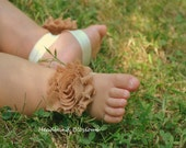 Adorable TOFFEE Barefoot Sandals - Baby Shoes - Frayed Chiffon Flower Sandal - Newborn Baby Photo Prop 1st Birthday Autumn Light Brown Tan
