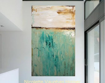 Modern 48 x 36 deep gallery canvas Abstract painting,Original comtemporary Art,lots of texture Ready to hang  by Nicolette Vaughan Horner