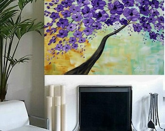 "Oil Landscape  Abstract Original Modern 36"" palette knife Purple Blossoms Tree impasto oil painting by Nicolette Vaughan Horner"