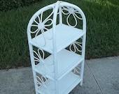 WHIMSY NOT FLIMSY / Shabby Chic 'Flower Power' wood and wicker daisy shelf