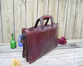 Distressed Leather Attache Briefcase Bag LapTop Papers Files - Burgundy