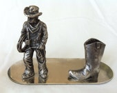 Business Card Holder - Western Cowboy - Office Accessories - Desk Organizer