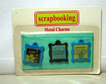 Metal Charms for Scrapbooking 3 Charms with Words