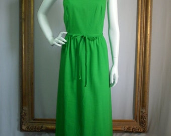 Vintage 1970's Molia for McInerny Long Green Cotton Sundress - Size 10