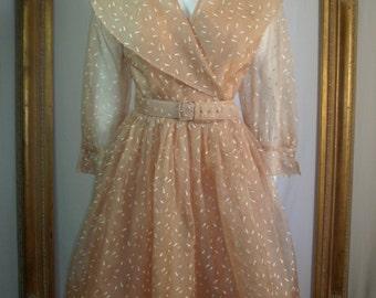 Vintage 1950's Beige Organdy Dress - Size 12