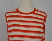 Vintage Designer GIVENCHY Sport Tank Top Red and White Nautical Classic Medium