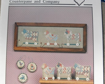 Heart Strings Cross Stitch Pattern Linen 27 Count Fabric Wood Beads Bells Included Primitive Country X Stitch Vintage Pull Toys Sheep Cow