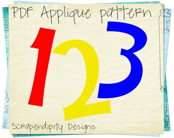 Numbers Applique Pattern - Quilt Applique Template / Toddler Quilt Pattern / One Two Three / Fabric Applique Design / Kids Birthday Blanket