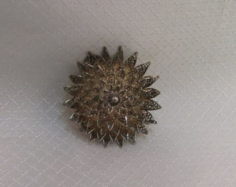 c1940's - 1950's Portugal Sterling Filigree Tiered Chrysanthemum Blossom Brooch