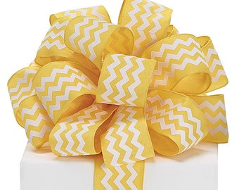 "5YDS x 1-1/2"" Yellow & White ZIG ZAG Chevron Print Lines Wired Edge Fabric Ribbon"