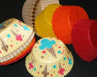 """50ct Colorful """"Ice Cream Party"""" Set Baking Cups Cupcake Muffin Liners STANDARD SIZE (Free Shipping!)"""